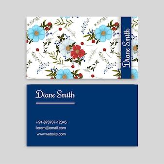 Tarjetas de visita de flor azul oscuro