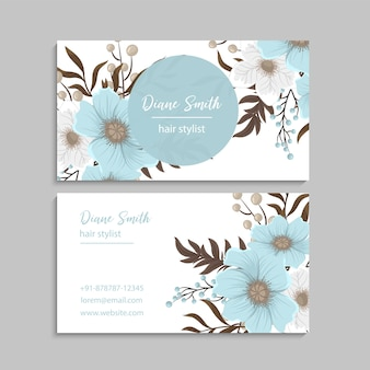 Tarjetas de visita de flores azul claro