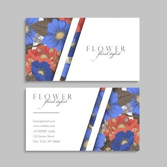 Tarjetas de visita de flores azules y rojas