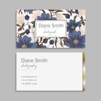 Tarjetas de visita de flores azules