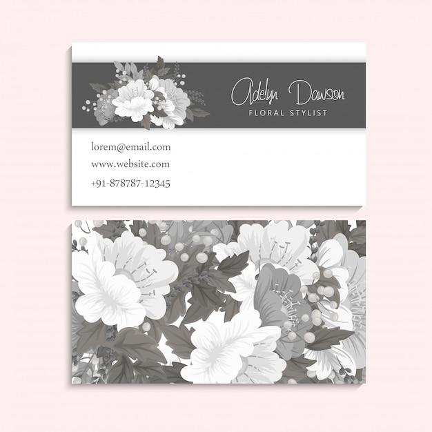 Tarjetas de visita de flores blancas y negras