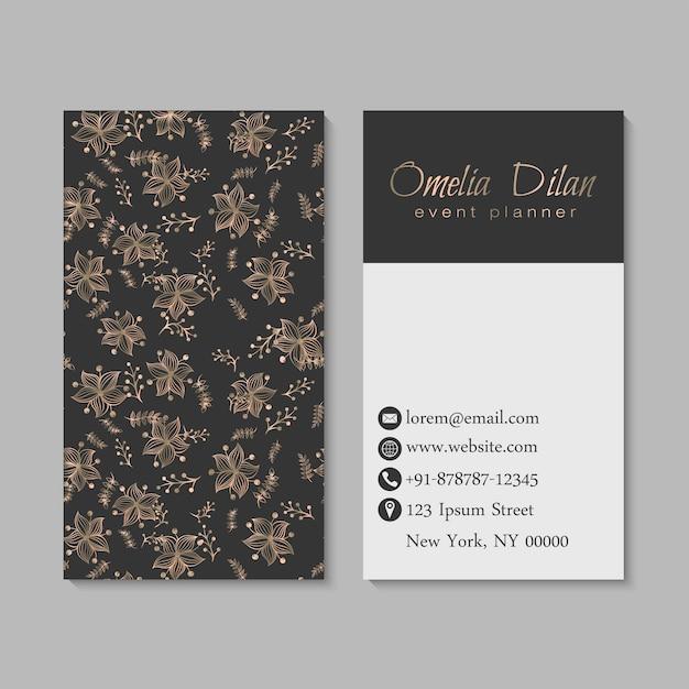 Tarjetas de visita de flores doradas y negras