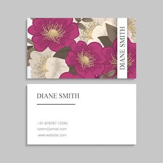 Tarjetas de visita de flores - flor rosa fuerte