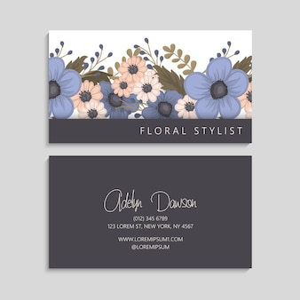 Tarjetas de visita de flores flores azules
