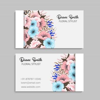 Tarjetas de visita de flores - flores de color azul claro