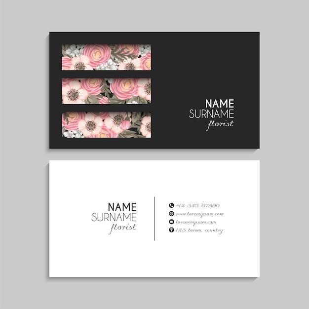 Tarjetas de visita de flores flores de color rosa ilustración vectorial