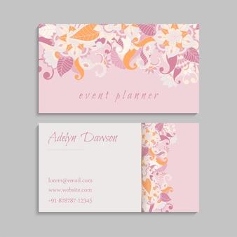 Tarjetas de visita de flores flores rosadas