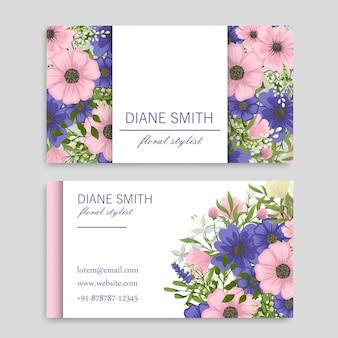Tarjetas de visita de flores flores rosas y azules