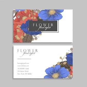 Tarjetas de visita de flores fondo azul y rojo