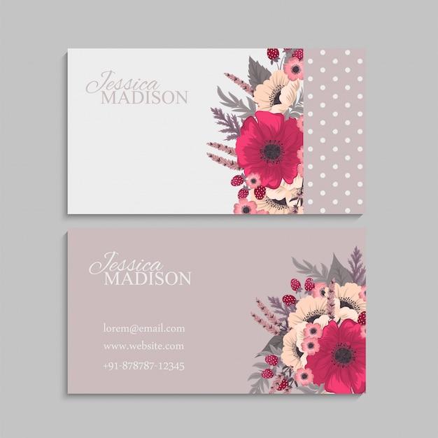 Tarjetas de visita de flores rosas fuertes
