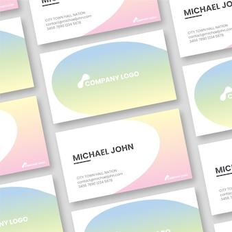Tarjetas de visita de gradiente en colores pastel simplistas