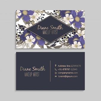 Tarjetas de visita plantilla flores azul oscuro