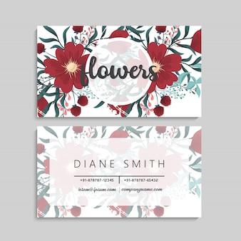 Tarjetas de visita plantilla flores rojas