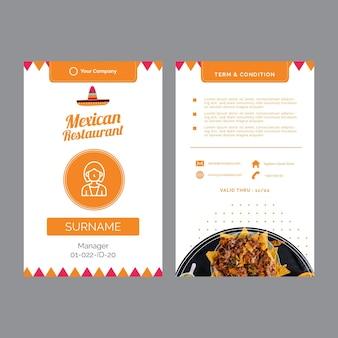 Tarjetas de visita para restaurante mexicano
