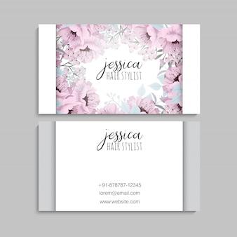 Tarjetas de visita rosa flores plantilla