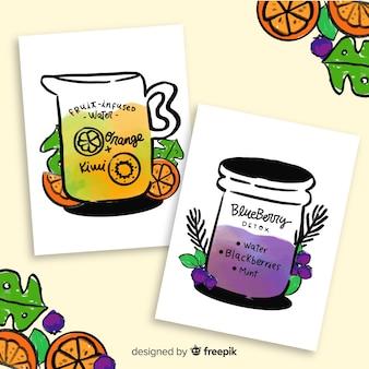 Tarjetas de zumo de frutas desintoxicante en acuarela