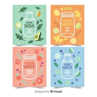 Tarjetas zumo de frutas detox acuarela