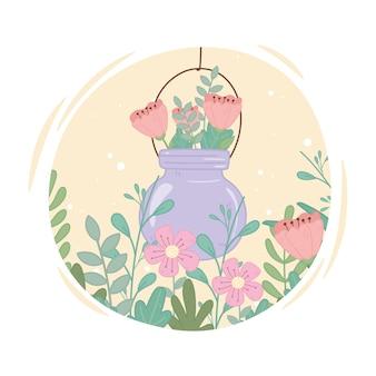 Tarro de albañil con follaje de flores