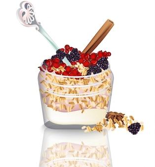 Tarro de avena con yogur y frutas de bayas