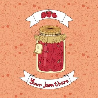 Tarro casero de mermelada de fresa