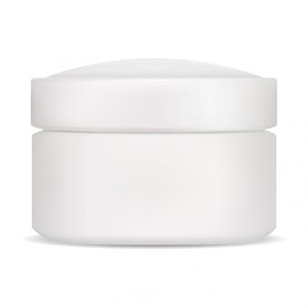 Tarro cosmético. crema de embalaje en blanco aislado. maceta