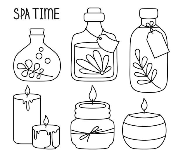 Tarro cosmético y vela doodle conjunto de dibujos animados cuidado de la piel spa aromaterapia belleza cuidado de la piel tratamiento