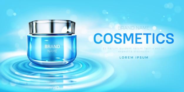 Tarro de crema cosmética en banner de superficie de agua