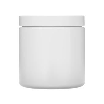 Tarro de crema cosmética botella de plástico en blanco