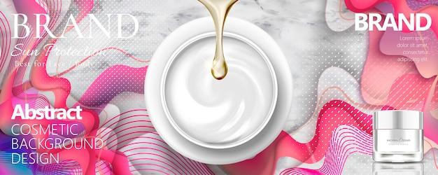 Tarro de crema cosmética en la vista superior sobre piedra de mármol y fondo ondulado rosa