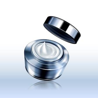 Tarro de crema gris plata en blanco, se puede utilizar como elementos