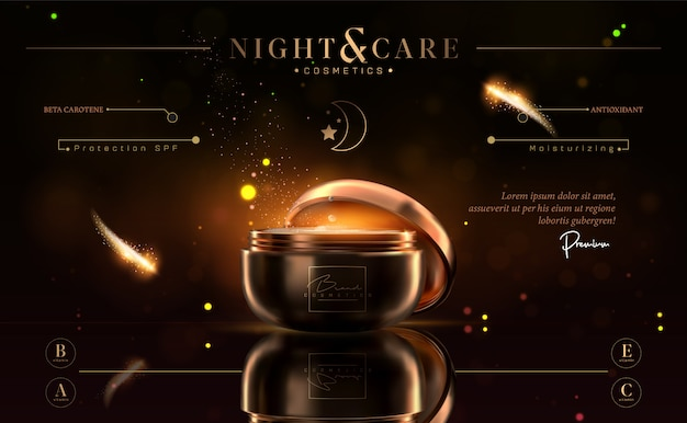 Tarro de crema de noche cosmético negro y dorado de lujo para productos para el cuidado de la piel.