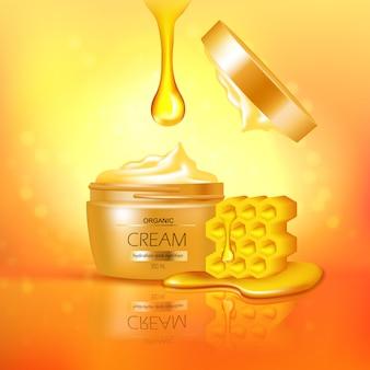 Tarro de crema orgánica con la composición de miel 3d con la reflexión en la ilustración de vector de fondo amarillo brillante con textura