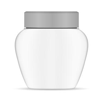 Tarro de crema de plástico blanco. contenedor redondo