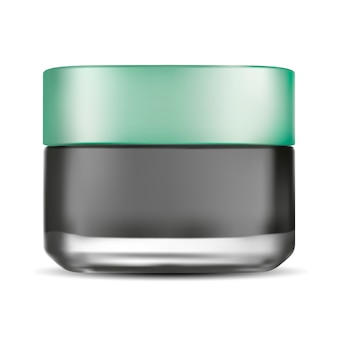 Tarro de crema de vidrio mate. productos cosméticos para el cuidado facial.