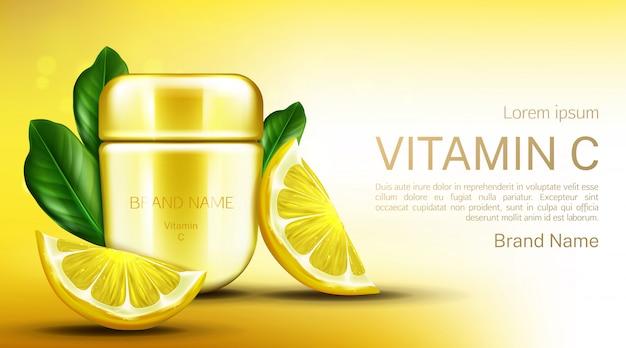Tarro de crema de vitamina c con rodajas de limón y hojas