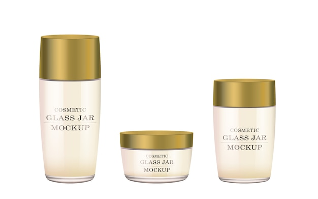 Tarro de cristal blanco realista con tapa de plástico dorado para cosméticos