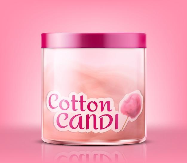 Tarro de cristal cerrado realista con el caramelo de algodón, aislado en fondo rosado.
