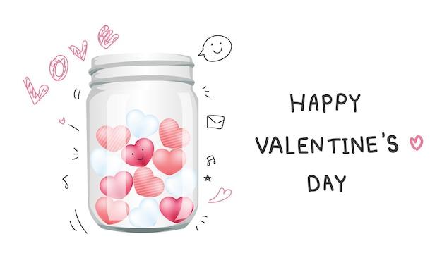 Tarro de cristal lleno de amor aislado en blanco