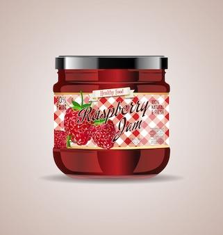 Tarro de cristal maqueta diseño de paquete de mermelada de frambuesa