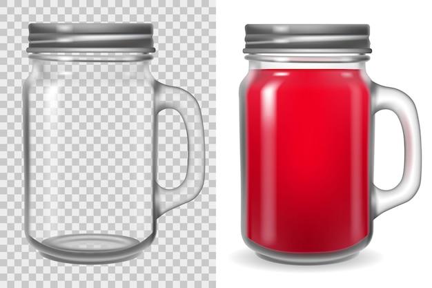 Tarro de cristal con tapa. taza transparente con asa aislada sobre fondo blanco. ilustración de vidrio transparente vacío.