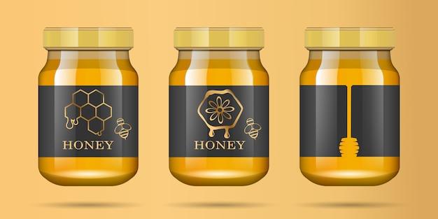 Tarro de cristal transparente realista con miel. banco de comida. envasado de miel. logotipo de miel