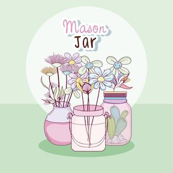 Tarro de masón con concepto de dibujos animados lindo de flores