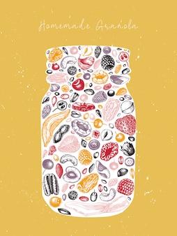 Tarro de granola vintage. ilustración grabada de desayuno saludable. granola casera con marco de bayas, cereales, frutos secos y nueces. plantilla de comida sana con elementos dorados y esbozados.