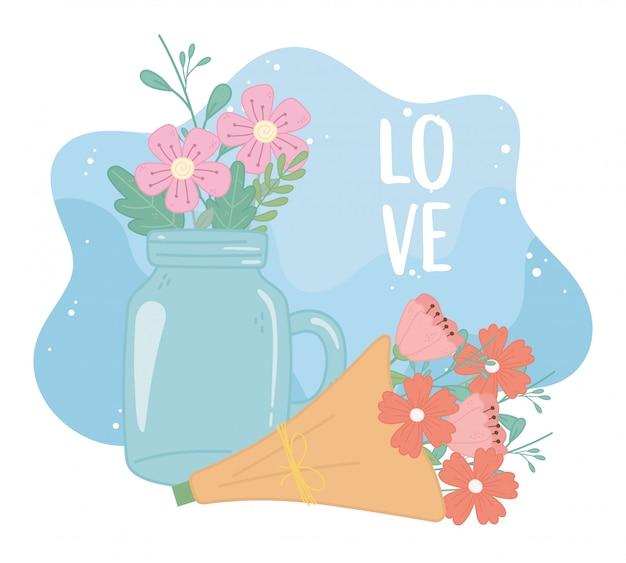 Tarro de masón y ramo de flores