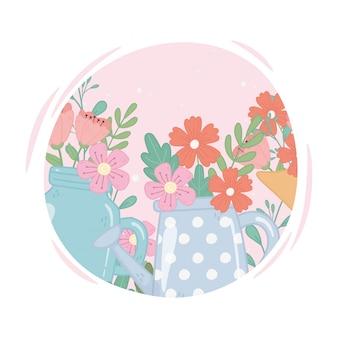 Tarro de masón y regadera con decoración de flores