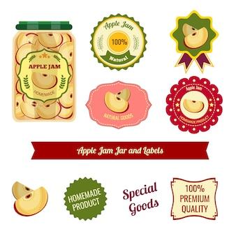 Tarro de mermelada de manzana y etiquetas