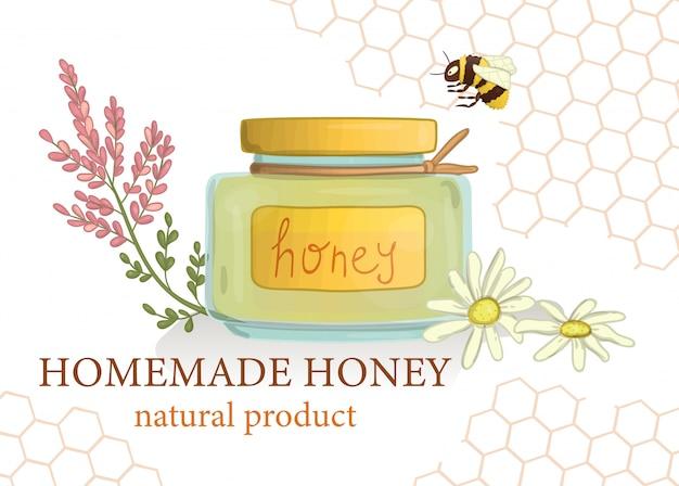 Tarro de miel con flores silvestres y abejorros