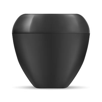 Tarro negro envase de crema cosmética. plástico en blanco