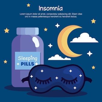 Tarro de píldoras de máscara de insomnio y diseño de luna, tema de sueño y noche