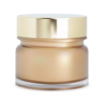 Tarro de polvo cosmético botella de crema facial caja de maquillaje tarro realista de vidrio brillante